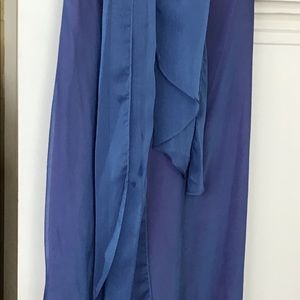 long dress, beautiful blue color ash slimming